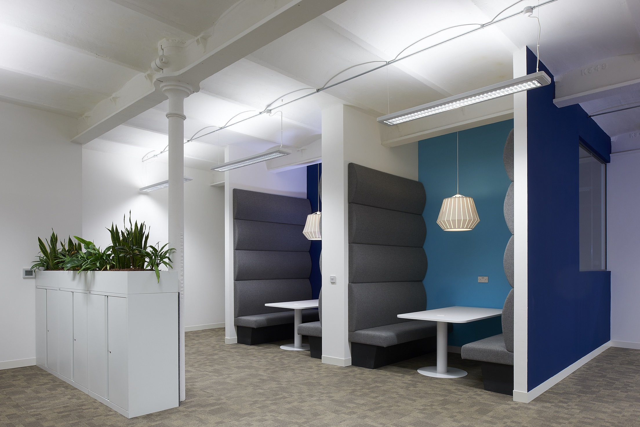 """Two acoustic meeting pods act as """"quiet zones"""" to hold informal meetings between colleagues"""